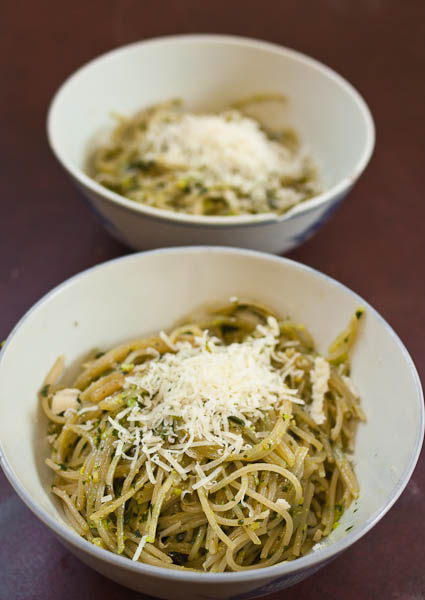 Pasta with homemade pesto